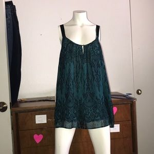Lane Bryant teal keyhole double layer tank top